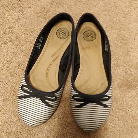 SO Shoes - So Brand Navy Stripe Fabric Ballet Flats